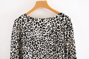 2016 New Women's Spring And Autumn Fashion Sexy Leopard Cardigan Sweater Slim Knitted Cardigan Jacket Outerwear