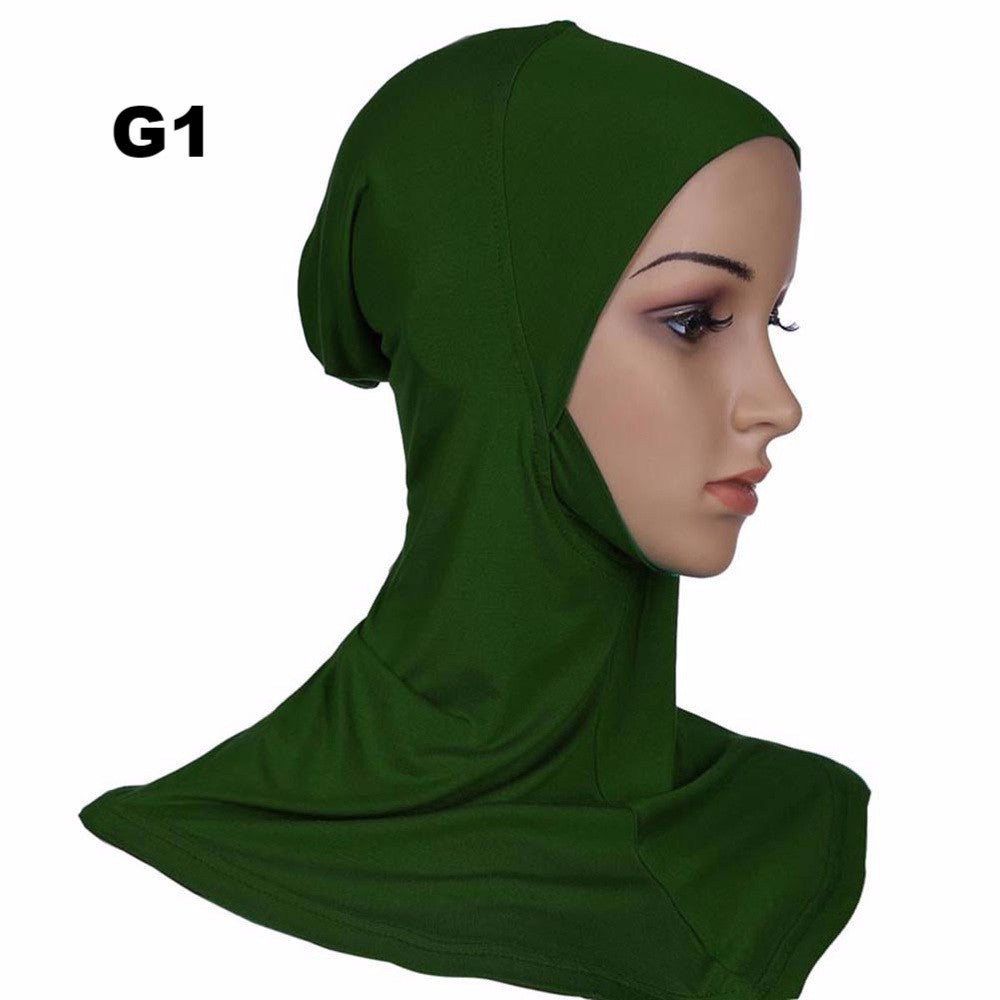 Hijab Headwear Full Cover Underscarf Ninja Inner Neck Chest Plain Hat Cap Scarf Bonnet 21 Colors