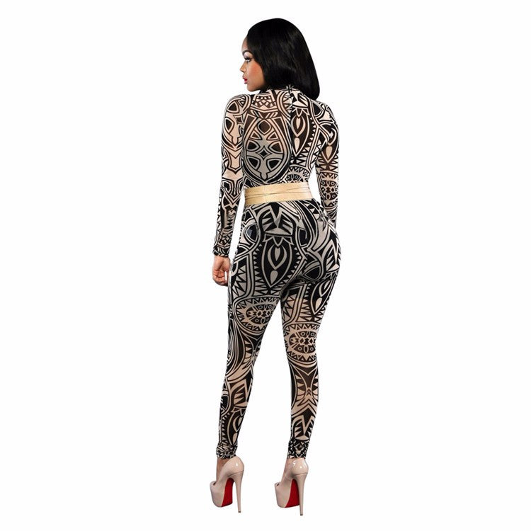 Nicki Minaj Sexy Vintage Bodycon Jumpsuit Patchwork Bodysuit for Women Party Romper Chain Print Prom Playsuit Club Jumpsuits