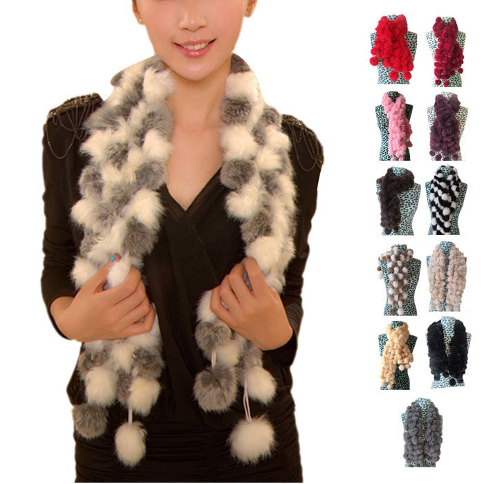 New Women Winter Real Rabbit Fur Scarf Lady Casua Fur Scarves 100 Fur Ball Velvet Rabbit Echarpe Luxury