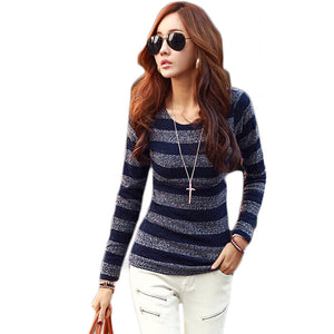 2016 New Spring Autumn Winter Slim Thin Sweaters Women Long Sleeve Pullover Knitted Striped Sweater Pull Femme Women Shirts Tops