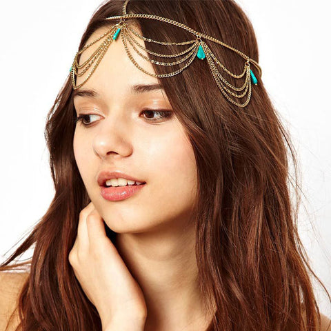 2016 Excellent Style Women Head Turquoise Chain Jewelry Headband Party Headpiece Hair Band New