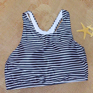 Retro Striped High Neck Tankinis Summer Elegant Women Tank Set Push Up Top High Waist Swimwear Beach Sport Swimsuit