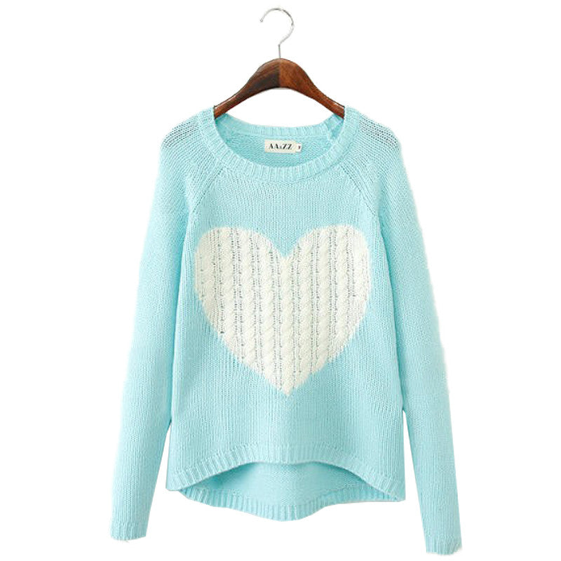 Pullover Women Sweaters Elegant Heart Pattern Pullover O neck Long Sleeve Knitwear Stylish Casual Knitted Sweater