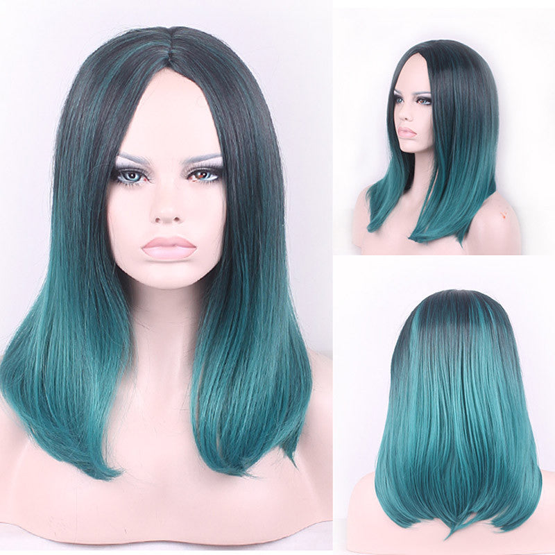 45cm New Colorful Medium Long Natural Straight Central Parting Full Wig For Women Black Green