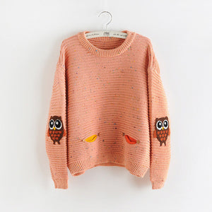 2016 Womens Fashion Winter Autumn O-neck Collar New Owl Character with pocket hit color solid loose cashmere sweater pullovers