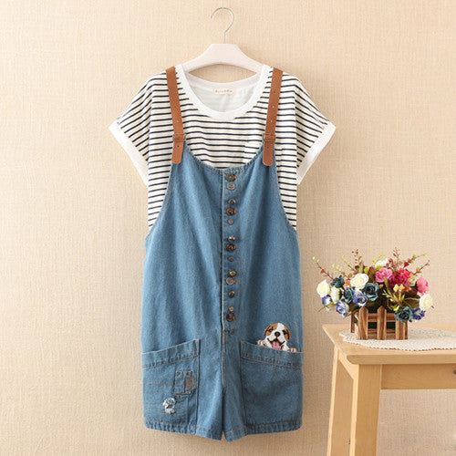 Summer Autumn new funny female cute cats embroidery pattern denim jeans overalls women suspenders wide leg Bib short jumpsuit