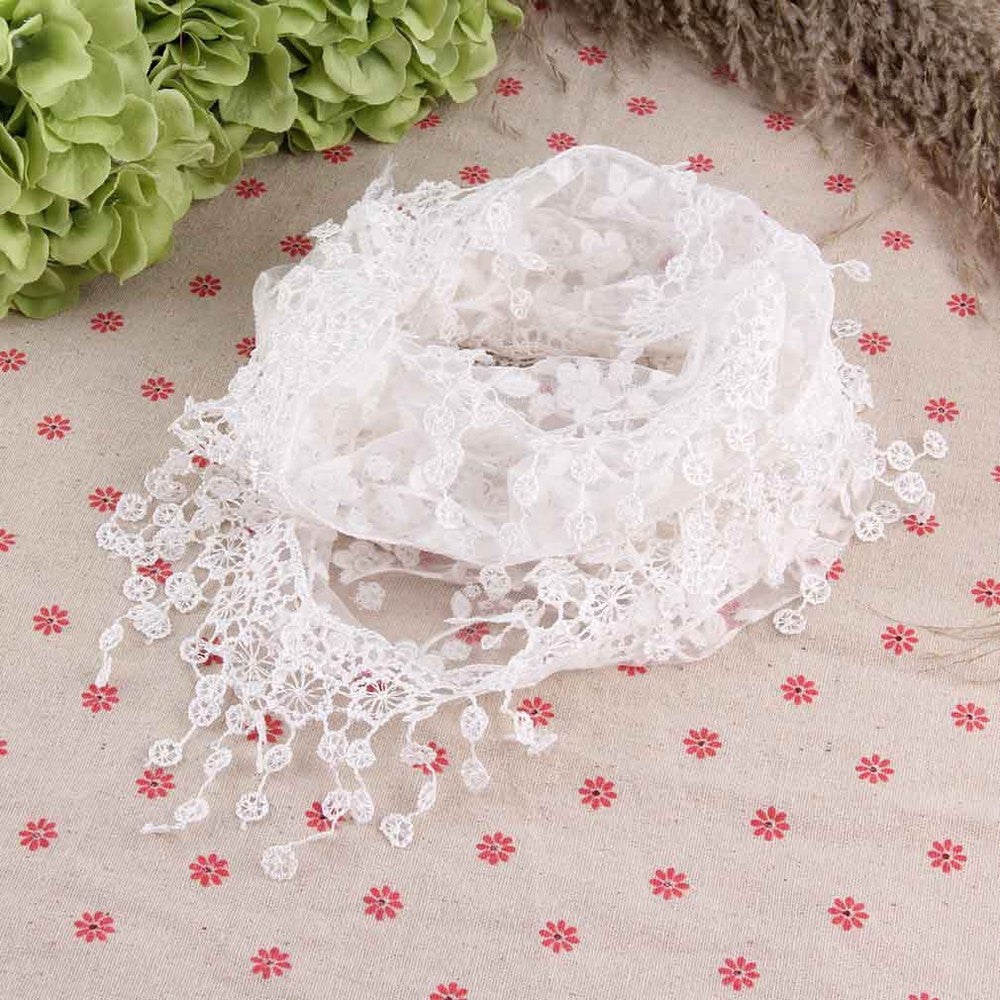 Fashion Hollow Tassel Lace Rose Floral Knit Triangle Veil Scarf Women Embroidered Tassel scarves All-match Shawls & Wraps