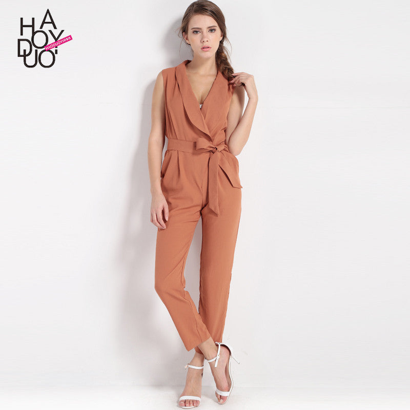 Sexy v-neck Tie Sleeveless Office Lady Rompers Spring Fashion Long Jumpsuits