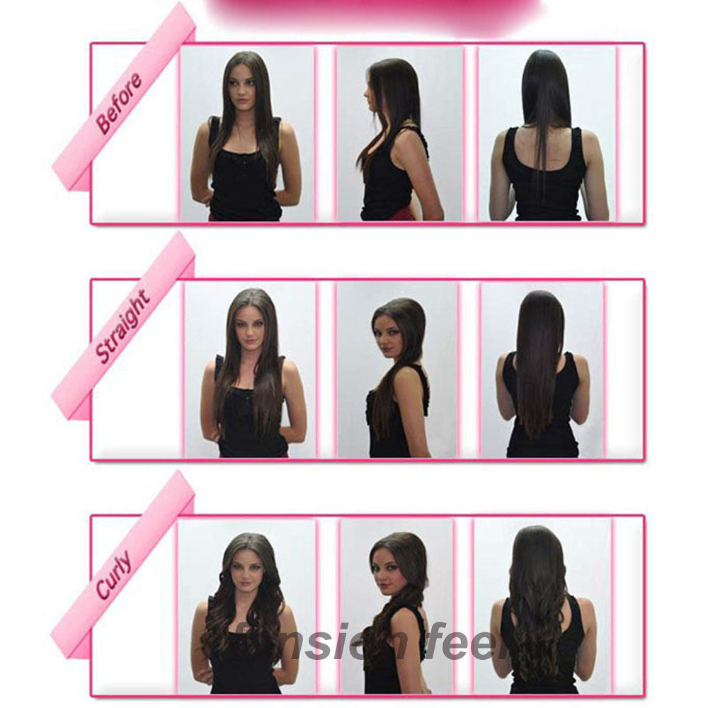 "18-28"" 45-70CM 100% Real Natural Hair Extention 3/4 Full Head Clip in Hair Extensions Curly/Curly US UK Fast SHIP - Gifts Leads"