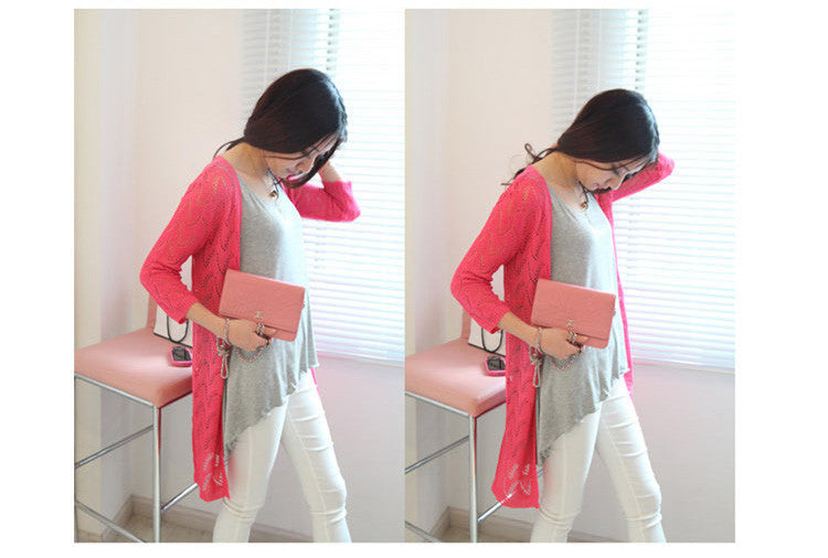 2016 New Summere Style Women Cardigan Solid Color O-Neck Long Sleeve Hollow Out Knit Sweater Slim Femme Cardigans