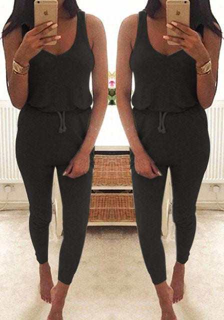 New 2017 Summer Low Cut Rompers Womens Jumpsuit Black Elastic Waist Sleeveless Long Pants Playsuit Strap Pocket Overalls