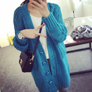 Crochet Long Cardigan Women 2016 Fashion New Womens Warm Sweaters For Winter Thick Single Breasted V Neck Pocket Coat Outwear