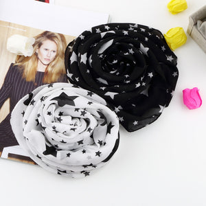 1pcs New super soft Women Black White Stars  Long Chiffon Neck Wrap Scarf Stole - Gifts Leads