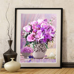 5D DIY diamond Painting flowers 3D Cross Stitch diamond embroidery mosaic diamonds wall stickers home decor Free shipping
