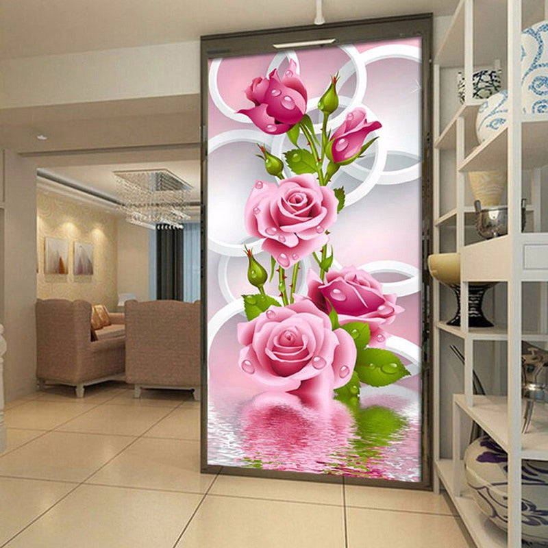 Needlework 5D Diy Diamond Painting Cross Stitch Pink Rose Diamond Embroidery Flower Vertical Print Rubik's Cube Drill Picture