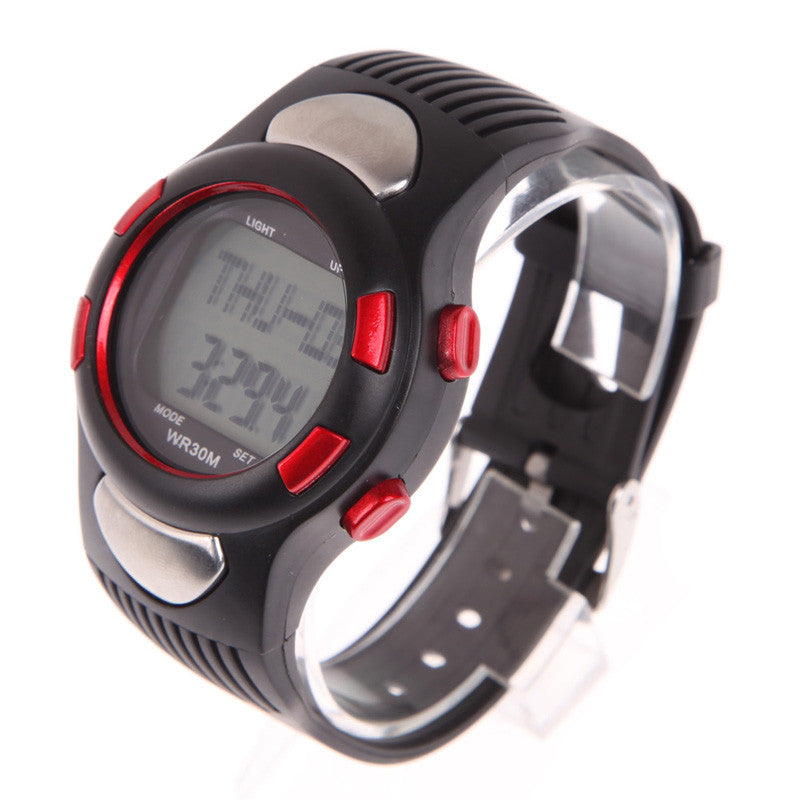 2016 New P1005M 3D Pedometer Heart Rate Monitor Wristwatch with Backlight Red ISP