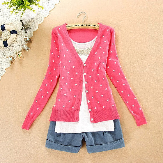 Free shipping Fashion Women coat small love heart sweater PLUS SIZE cardigan knitted coat