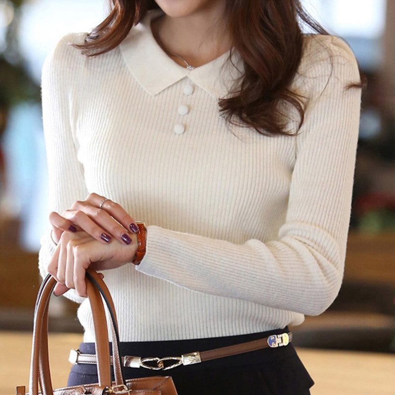 Women Sweater 2016 New Fashion Casual Spring Autumn Women Solid Color Buttons Work Office Pullover Slim Knitted Sweaters