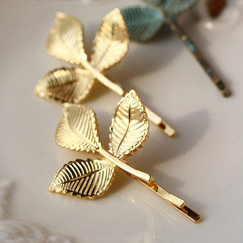 4 Pieces Elegant Europe and America Vintage Side Clip Leaves Hairpins Hair Jewelry  Accessories For Women 2016