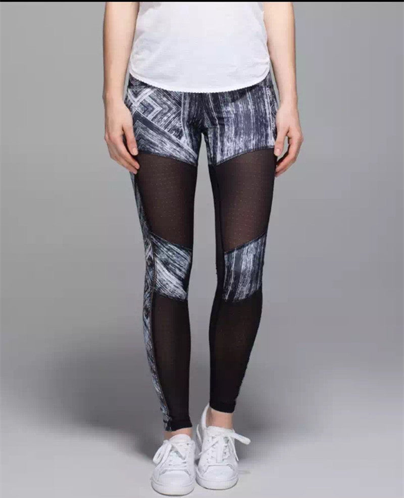 Womens Gym Yoga Pants See Through Panel Stylish sport  Leggings Sport Pants fitness Running Exercise Elasticity Jeggings