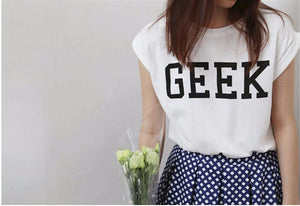 Summer Style Geek Letter Print T Shirt Women New Casual O-Neck Slim T-shirts for Women With Short Sleeve Green Women T Shirt
