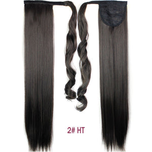 24inch Black Synthetic Long Straight Clip In Ribbon Ponytail Hair Extension hairpiece my little pony Tail Hair Pieces 15 Colors