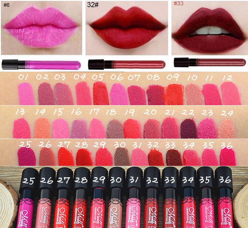Hot Sale 15 Colors Velvet high Quality Waterproof Long Lasting Matte Lipstick Lip Gloss Sexy Lipstick
