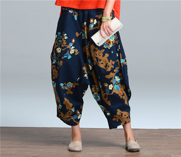 2016 Plus Size Vintage Cotton Linen Pants Women Casual Elastic High Waist Wide Leg Pants Print Harem Pants Trousers Pantalones