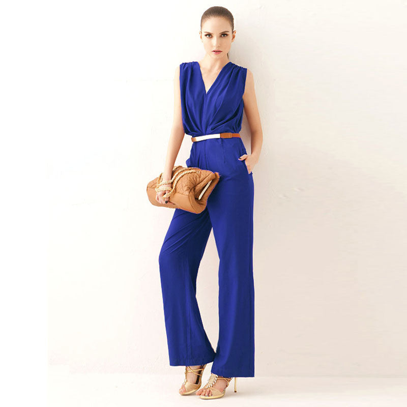Feitong Women Bodycon Elegant jumpsuit OL Style Summer Deep V Neck Sleeveless Party Loose Romper Overalls Macacao Feminino longo