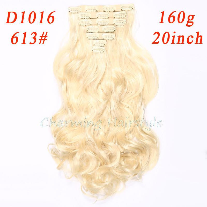 160g 7pcs/set clips in hair extension long Curly Fake hair pieces 16 clip in false hair extensions Multicolor Cheap hairpiece - Gifts Leads