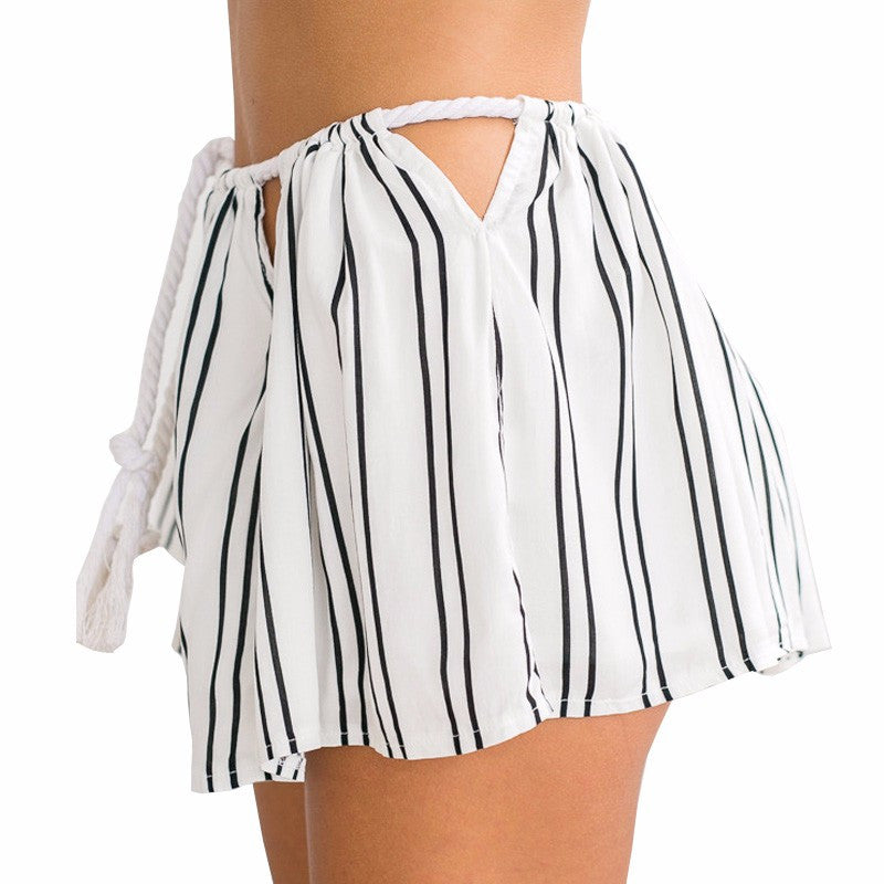 New 2016 Summer Sexy High Waist Shorts Women Black and White Stripe Print Drawstring Short Feminino Sport Workout Clothes