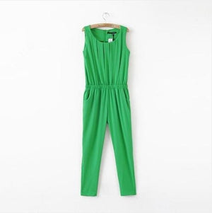 2017 New Summer OL Plus Size Women Clothing Slim Pleated Sleeveless Chiffon Fashion Casual Jumpsuit Free Shipping