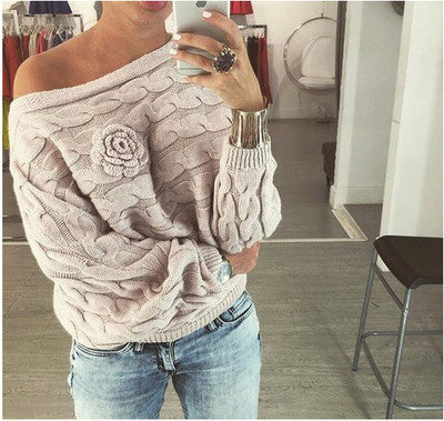 Elina women 2016 fashion Flowers Twisted dames kleding jerseis knitted sweter pull femme jumper long pullover sweaters