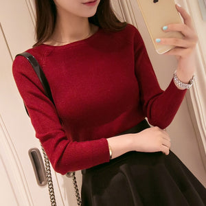 2016 Spring  Autumn Cashmere Sweater women fashion sexy big o-neck women sweaters and pullover warm Long sleeve Knitted Sweater