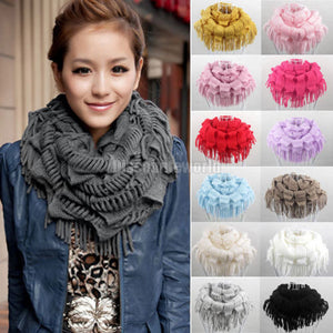High Quality 2016 Fashion New Womens Winter Warm Knitted Layered Fringe Tassel Neck Circle Shawl Snood Scarf Cowl 13 Colors