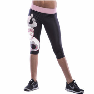 Womens Capri Pants Sport Yoga Pants High Waist Workout Leggings Bodybuilding Running Tights Women Sports Fitness Slim Leggings