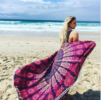 2016 Bohemia Round Beach Sarong With Tassels Lady Beach Cover Up Summer Toallas Swimming Sunbath Serviette De Plage - Gifts Leads