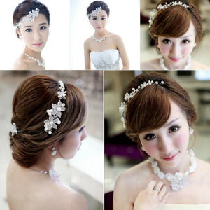 New style is pure and fresh temperament gorgeous bride pearl headdress flower headdress flower dress soft chain accessories