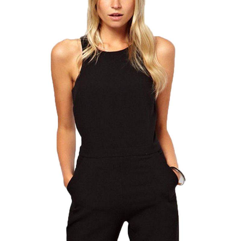 2017 Summer Elegant Womens Rompers Jumpsuit Casual Solid Bodysuit Sleeveless Crew Neck Long Playsuits Plus Size