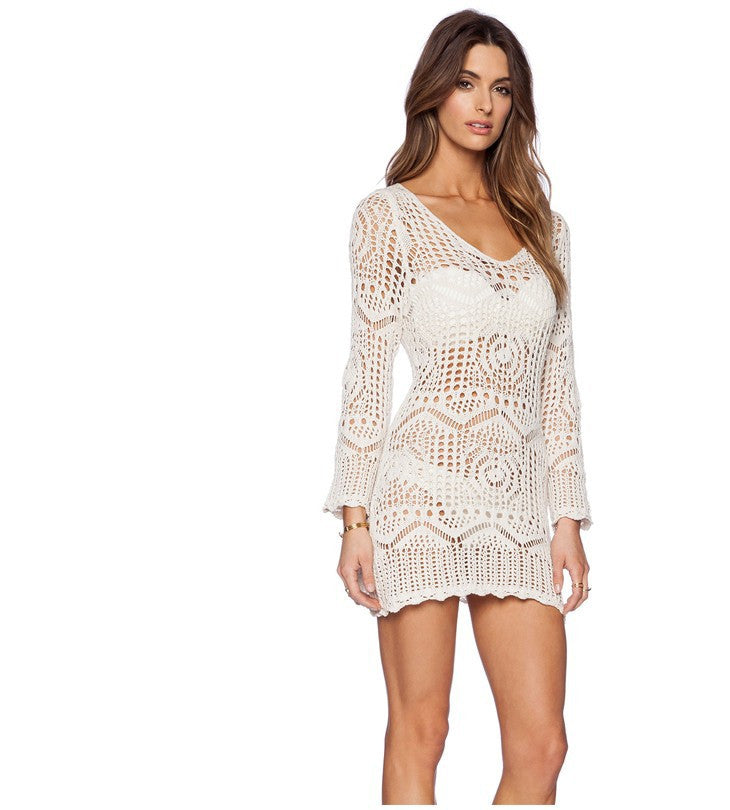 Saidas De Praia Crochet Openwork Swimwear Bikini Beach Cover Up Sexy Swimsuit Cover Ups Crochet Beach Dress