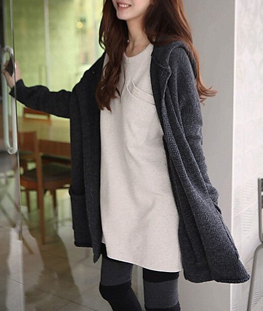 Autumn Hot Selling Cardigan Women Full Sleeve Long Loose Knitted Cardigans Hooded Sweater For Young Lady
