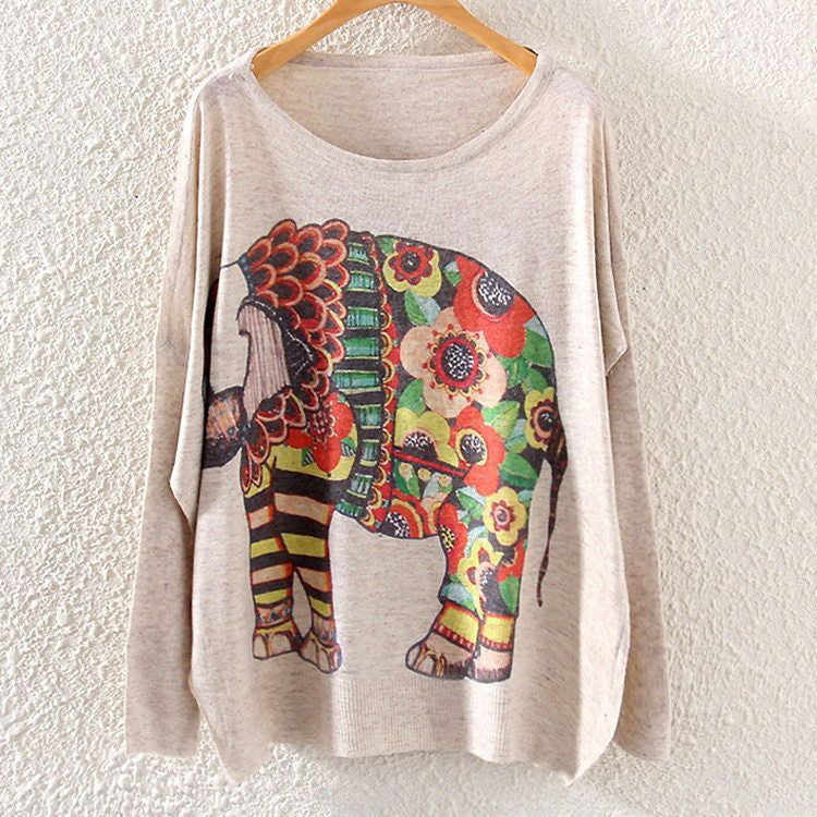 2016 Autumn Winter Vintage Fashion Women Long Batwing Sleeve Knitted Print Sweater Loose Blouse Jumper Pullover Knitwear Tops