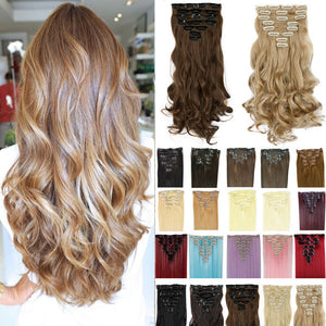17inch 170g Curly Clip On Natural Hair Synthetic Hair Styling Clip in Hair Extensions 8 Piece Blonde Hair Piece - Gifts Leads