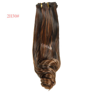 "New Products 8pcs Heat Resistant Hair Hairpiece 19"" 18 Clips in Hair Extension Cheap Synthetic Long Curly False Hair Extensions"