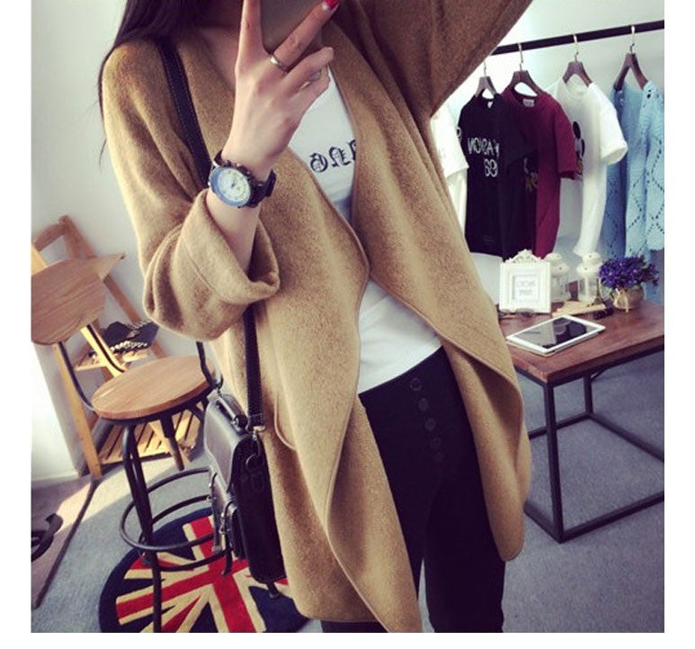 2016 New Winter Women Knitted Cashmere Cardigan Sweater Long Solid Slim Asymmetry Long Sleeve Loose Warm Knit Cardigan Feminino