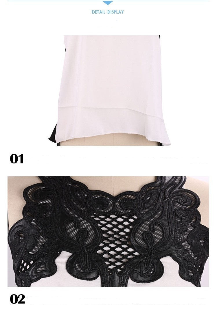 European Style Womens Lace Crochet Chiffon Shirt Sexy Sleeveless Plus Size Ladies Summer camiseta Tops