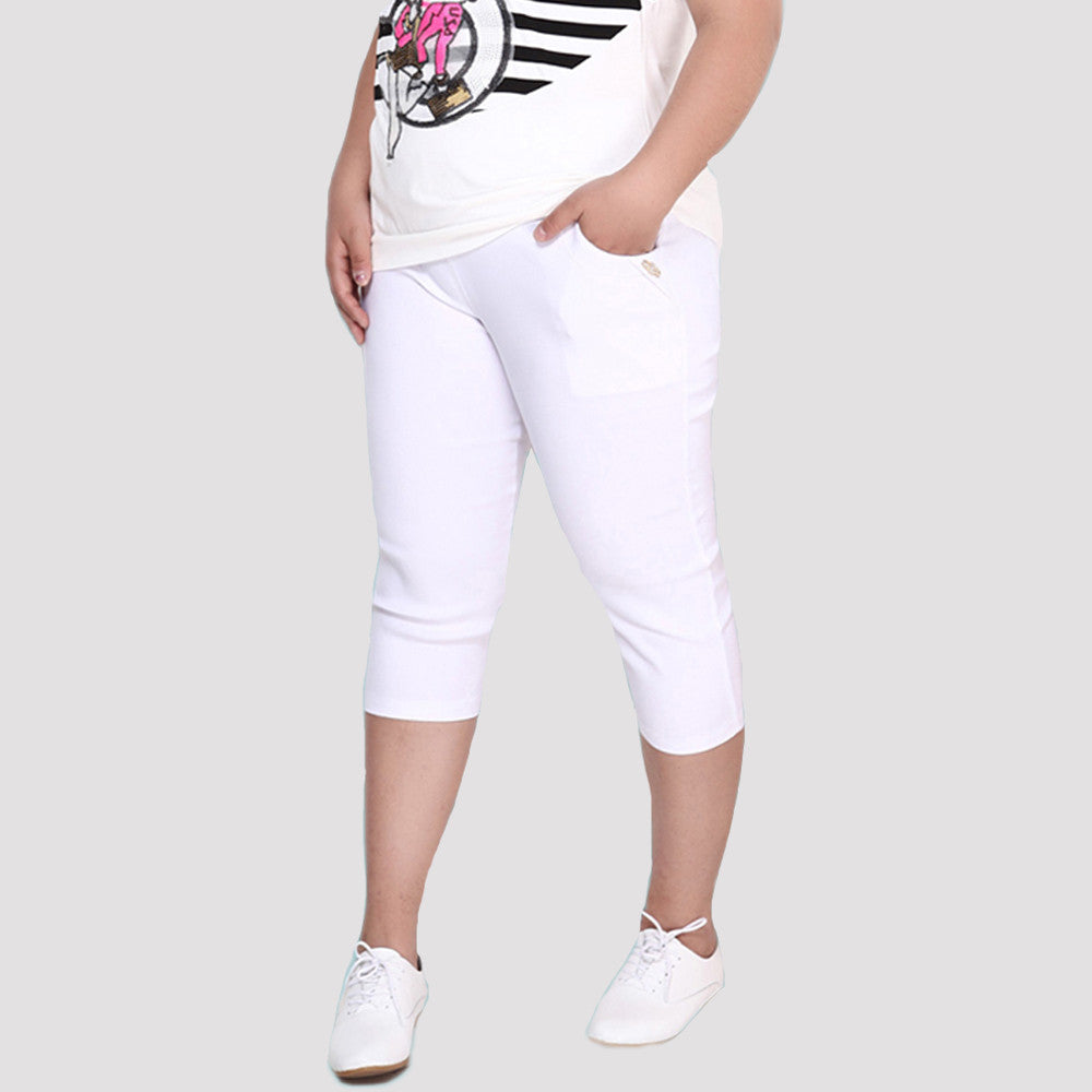New Fashion Plus Size 6XL Spring Slim Pants for Women Casual Stretch Black White High Waist Pockets Women Simmer Pants Capris