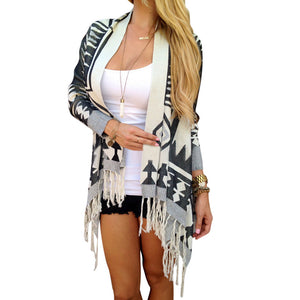 Autumn Winter Womens Long Sleeve Geometry Printed Loose Tassels Knitted Hem Cardigan Sweater Knitwear Outwear Coat Tops
