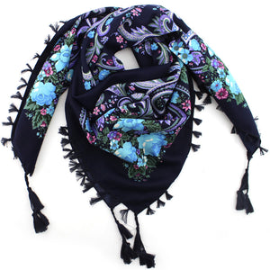 2016 Hot Sale Autumn Winter Fashion Ladies Tassels Big Square Scarf Floral design Women Brand shawl 15 colors 90X90cm